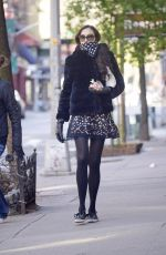 FAMKE JANSSEN Wearing Scarf and Gloves Out in New York 04/11/2020