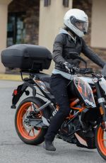 HALLE BERRY Out Riding Her KTM 390 Duke Motorcycle in Malibu 04/26/2020