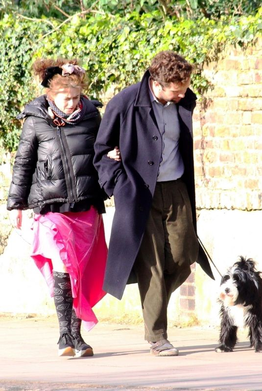 HELENA BONHAM CARTER and Rye Dag Holmboe Out with Their Dog in London 04/03/2020