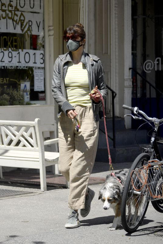 HELENA CHRISTENSEN Wearing Mask Out with Her Dog in New York 04/23/2020