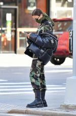 IRINA SHAYK in Camouflage Moschino Jumpsuit and Army Green Scarf Out in New York 04/14/2020
