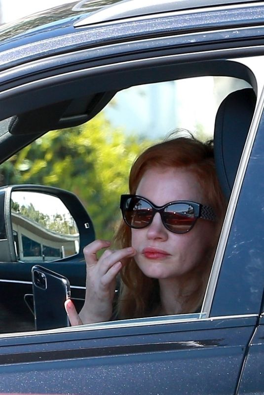 JESSICA CHASTAIN Out Driving in Santa Monica 03/31/2020