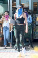 JULIANNE GOUGH Wearing Bandana as Makeshift Mask Shopping at Whole Foods in Malibu 04/01/2020