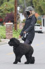 JULIE BENZ Wearing a Mask Out with Her Dog in Beverly Hills 04/13/2020