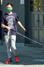 JULIETTE LEWIS Wearing Bandana Mask Out with Her Dogs in Venice Beach 04/20/2020