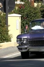 KENDALL JENNER and Fai Khadra in Her Classic 1960 Cadillac Eldorado Convertible Out Driving in Los ANgeles 04/02/2020
