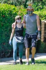 KRISTEN BELL and Dax Shepard Wearing Masks at Griffith Park in Los Angeles 04/21/2020