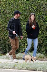 LILY COLLINS and Charlie McDowell Out with Her Dog in Los Angeles 04/04/2020
