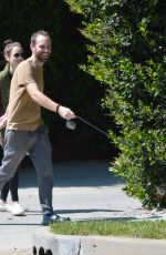 LILY COLLINS and Charlie McDowell Out with Their Dog in Beverly Hills 04/01/2020