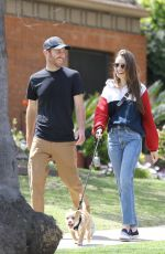 LILY COLLINS and Charlie McDowell Out with Their Dog in Beverly Hills 04/07/2020