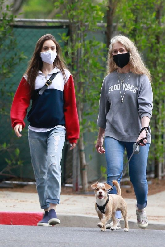 LILY COLLINS Out with Her Mother in Beverly Hills 04/29/2020