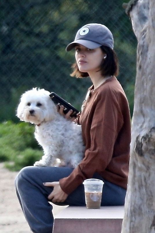 LUCY HALE Out with Her Dog at a Park in Los Angeles 04/02/2020