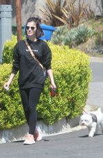 LUCY HALE Out with Her Dog Elvis in Los Angeles 04/01/2020
