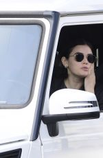 LUCY HALE Takes a Coffee from Starbuck Drive Thru in Los Angeles 04/04/2020