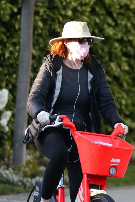 MARCIA CROSS Wearing Mask and Gloves Out Riding Bike in Beverly Hills 04/25/2020
