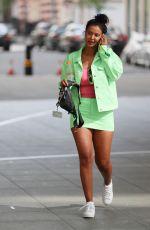 MAYA JAMA in Mint-green Miniskirt and Jacket Leaves BBC Radio in London 04/12/2020