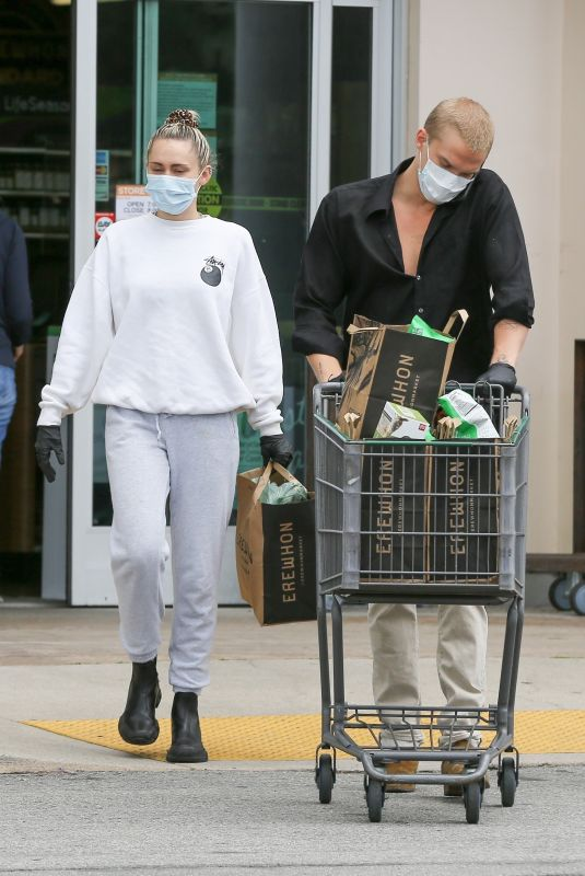 MILEY CYRUS and Cody Simpson Out Shopping in Calabasas 04/08/2020