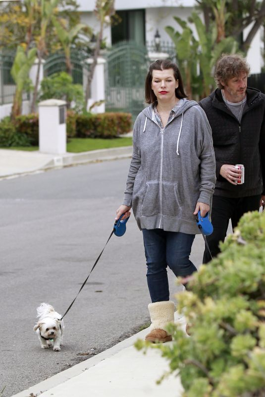 MILLA JOVOVICH and Paul W. S. Anderson Out with Their Dogs in Beverly Hills 04/20/2020