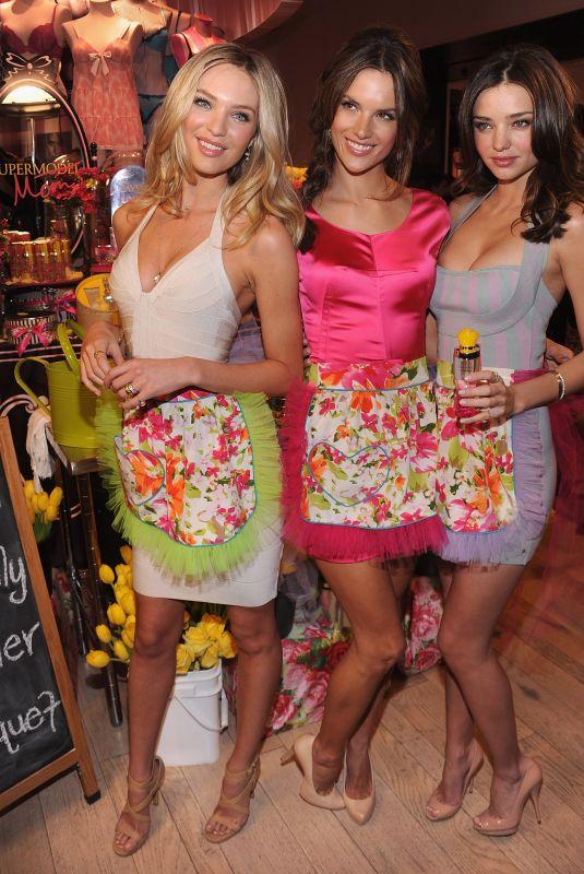 MIRANDA KERR, CANDICE SWANEPOEL and ALESSANDRA AMBROSIO at Victoria's Secret Beauty Heavenly Flowers Launch 04/24/2010