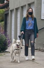 OLIVIA WILDE Out with Her Dog in Los Angeles 04/12/2020