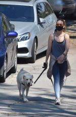OLIVIA WILDE Wearing Bandana Mask Out with Her Dog in Los Feliz 04/11/2020