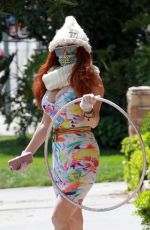 PHOEBE PRICE Playing with Hula Hoops Out in Los Angeles 04/13/2020