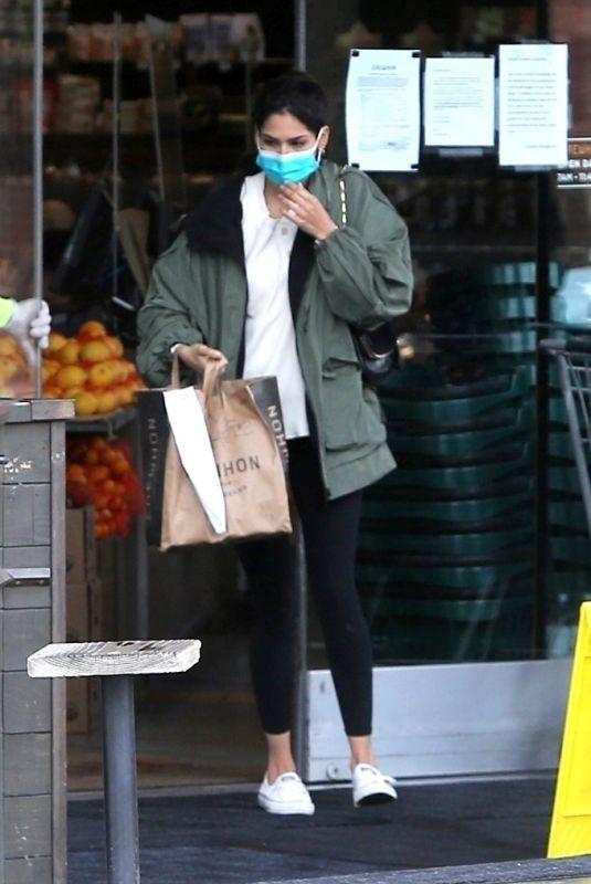 SARA SAMPAIO Wearing Mask Out Shopping at Erewhon Organic in Los Angeles 04/08/2020