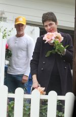 SELMA BLAIR Smells the Roses Outside Her Home 04/18/2020