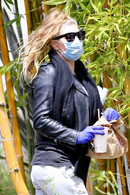 STACY FERGIE FERGUSON Wearing a Mask and Latex Gloves Out in Santa Monica 04/05/2020