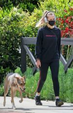 TERESA PALMER Wearing Mask Out with Her Dog in Los Angeles 04/17/2020