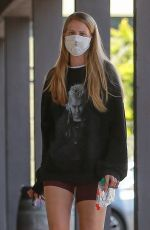 ABBY CHAMPION Wearing Gucci Mask Out for Coffee in Los Angeles 05/10/2020