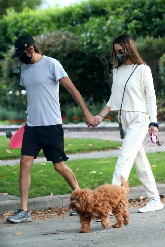 ALESSANDRA AMBROSIO Out with her Dog in Brentwood 05/10/2020
