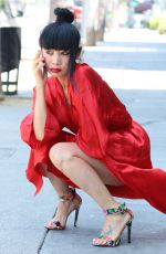 BAI LING in a Red Dress Out in Los Angeles 05/17/2020