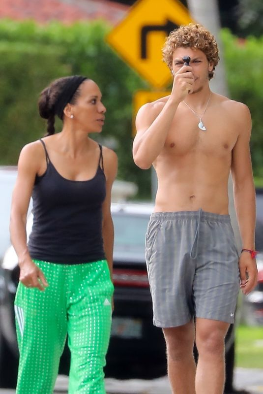 BARBARA BECKER Out with Her Son Elias in Miami 04/30/2020