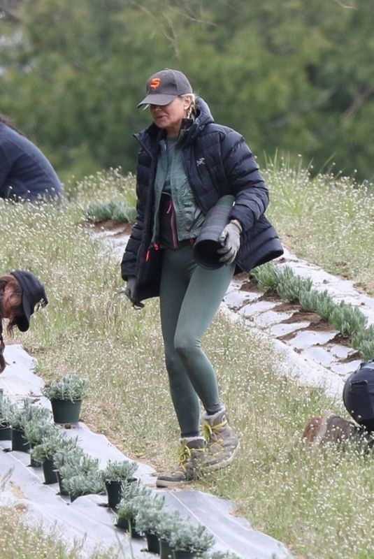 BELLA HADID Planting Herbs at a Local Family Estate in New Hope 04/30/2020