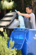 CASSIE VENTURA Takes Trash Bins Outside Her Home in Hollywood Hills 05/05/2020