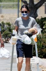 COURTENEY COX Wearing a Mask at Farmer
