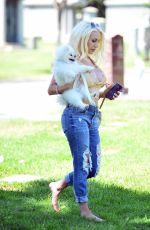 COURTNEY STODDEN in Ripped Denim Out with Her Dog at a Park in Beverly Hills 05/07/2020