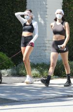 DELILAH and AMELIA HAMLIN in Tights Out with Their Dog in Beverly Hills 04/30/2020