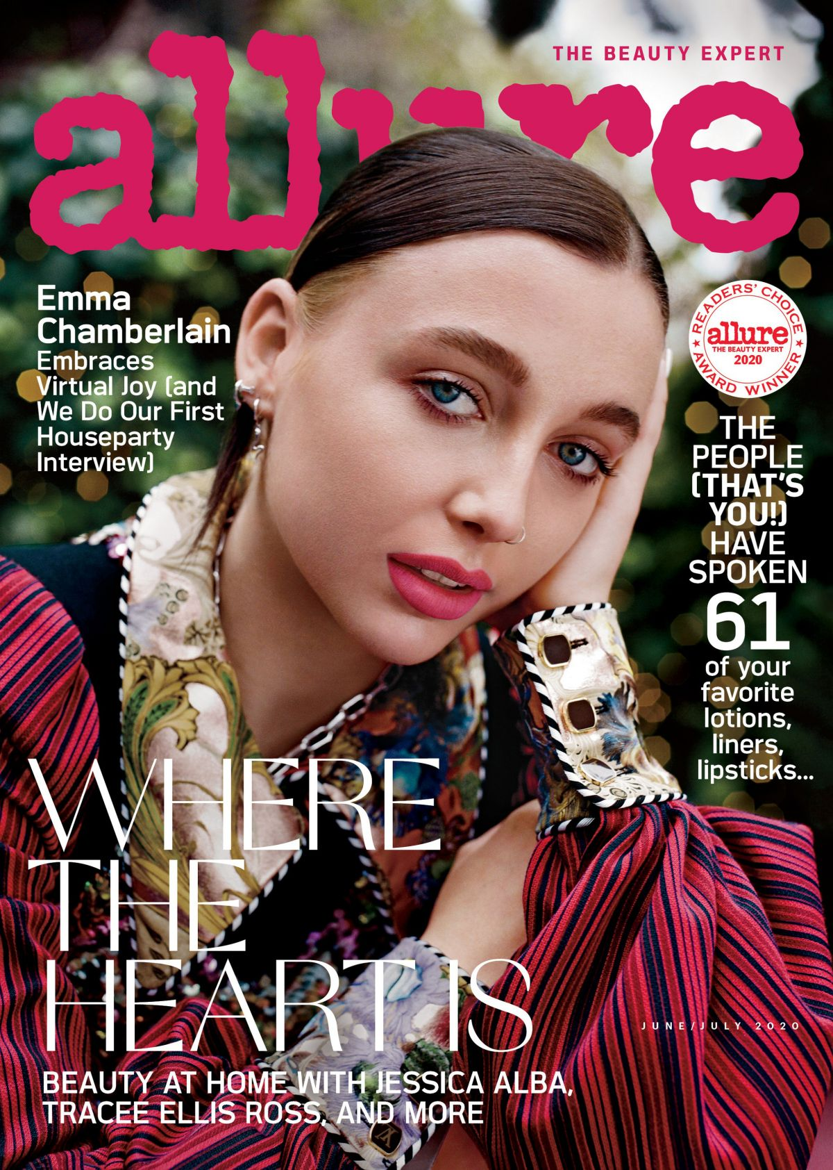 magazine emma chamberlain allure july june own issue hawtcelebs discountmags eyeliner vuitton dore vest blouse drama makeup rose jewelry colors