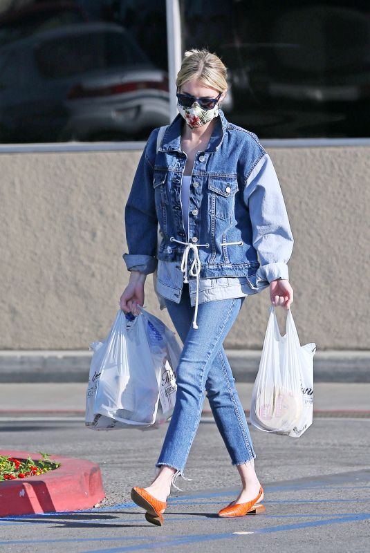 EMMA ROBERTS in Double Denim Out Shopping in Los Angeles 05/10/2020