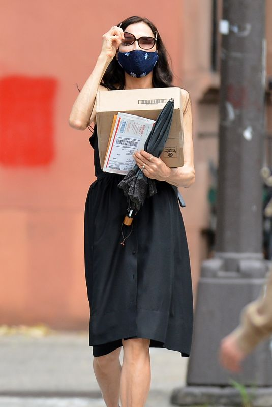 FAMKE JANSSEN Wearing a Black Mask Out and About in New York 05/26/2020