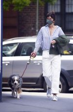 HELENA CHRISTENSEN Out with Her Dog in New York 05/13/2020