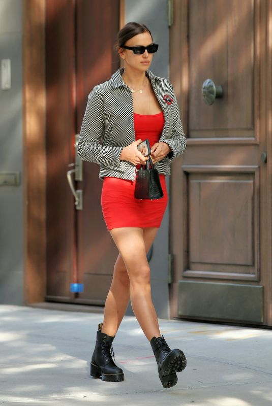 IRINA SHAYK in a Red Mini Dress out in New York 05/27/2020