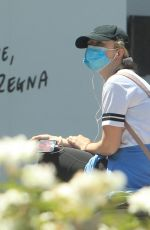 KATHRYN NEWTON Wearing Mask Out in Beverly Hills 04/30/2020