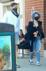 KELLY OSBOURNE Shows off New Vibrant Blue Curly Hairstyle Out in Los Angeles 05/22/2020