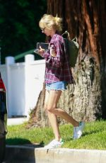 KIMBERLY STEWART in Denim Shorts Out in Studio City 05/09/2020