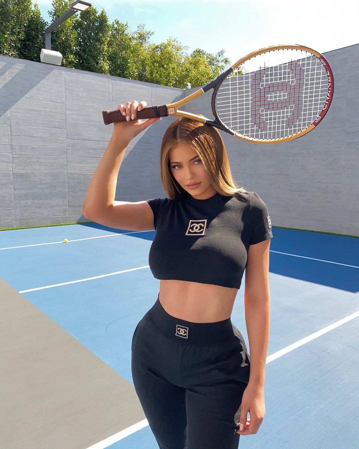 Kylie Jenner Models Chanel Outfit And Matching Racket On Tennis Court Of Her Home Instagram Photos 05 04 2020 Hawtcelebs