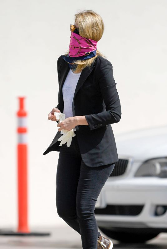 LAURA DERN Wearing Bandana Mask Out in Los Angeles 05/11/2020