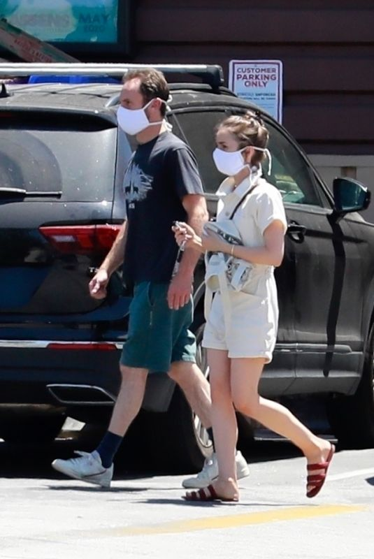 LILY COLLINS and Charlie McDowell Out in Los Feliz 05/05/2020